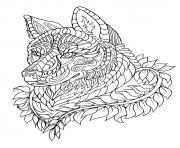 Coloriage loup wolf adulte zentangle animaux