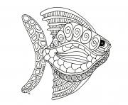 Coloriage poisson avril adulte mandala zentangle