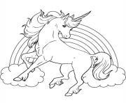 arc en ciel et licorne dessin à colorier