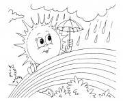 arc en ciel soleil pluie nature dessin à colorier