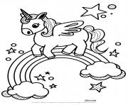 arc en ciel licorne kawaii dessin à colorier