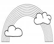 arc en ciel avec nuage dessin à colorier