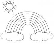 arc en ciel nuage et soleil dessin à colorier
