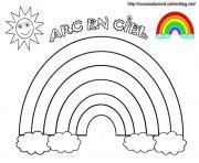 arc en ciel soleil avec couleurs dessin à colorier