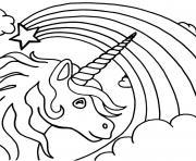 arc en ciel avec licorne etoile dessin à colorier