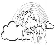 deux licornes arc en ciel dessin à colorier