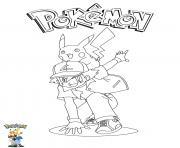Coloriage Ash and Pikachu Pokemon
