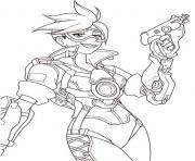 overwatch tracer avec un fusil dessin à colorier