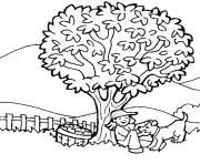 nature arbre de pommes avec chien dessin à colorier