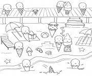 Coloriage nature plage creme glacee vacances