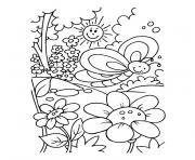 nature printemps soleil fleurs dessin à colorier