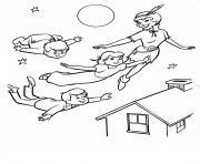 famille peter pan dans les airs dessin à colorier