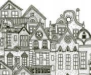 ville detaille complexe adulte cafe par artherapie dessin à colorier