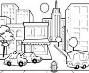 centre ville dessin enfants avec taxi dessin à colorier