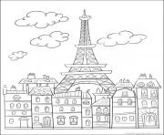 ville de paris france dessin à colorier