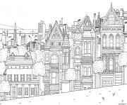 ville maison appartements paysage dessin à colorier
