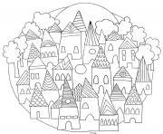 ville mandala dessin à colorier
