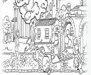 ancienne ville romains dessin à colorier