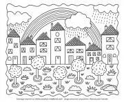 paysage ville nature et arc en ciel dessin à colorier