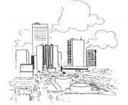 ville voiture et nuages dessin à colorier