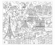 villes de france paris et ville new york usa dessin à colorier