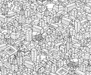 anti stress ville paysage dessin à colorier