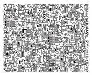 architecture ville complexe avec plusieurs batiments dessin à colorier