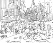Coloriage ville moderne twisted city dessin