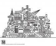 Coloriage ville moderne twisted city