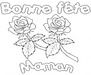 bonne fete maman roses dessin à colorier