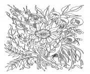 fleurs exotiques realistes dessin à colorier