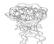 bouquet de fleurs roses dessin à colorier