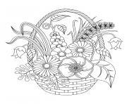 adulte fleurs variees dans un panier dessin à colorier
