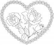 bouquet de fleurs en forme de coeur dessin à colorier