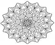 mandala fleur avec feuilles dessin à colorier
