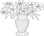 bouquet de fleurs dans un pot dessin à colorier