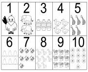 chiffre 0 a 10 chiffre et formes maternelle dessin à colorier