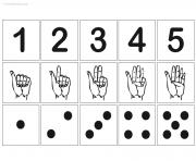 chiffre 1 a 5 avec illustration main chiffre points dessin à colorier