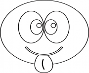 Coloriage smiley tire la langue