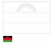 drapeau malawi pays afrique de lest dessin à colorier