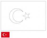 drapeau turquie dessin à colorier