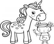 licorne fille enfant dessin à colorier