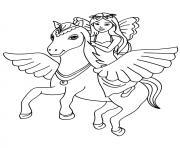 fee licorne dans les airs dessin à colorier
