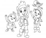 Coloriage jake izzy cubby et skully pirate enfant