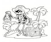 dessin pirate squelette ile tresor palmier dessin à colorier