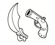 epee et fusil de pirate dessin à colorier