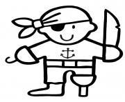 pirate maternelle jambe bois dessin à colorier