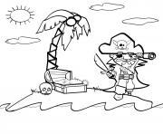 pirate sur une ile sans bateau tresors dessin à colorier
