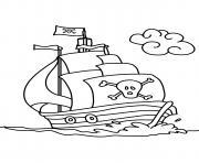 bateau de pirates facile maternelle dessin à colorier