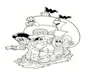 Coloriage fille pirate ouvre un tresor dessin
